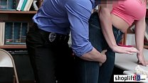 Horny young girl with big boobs fucked by a perverted cop