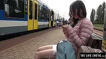 Gorgeous girl playing with her pussy in public
