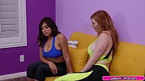 Busty latina and her yoga instructor are on the couch.Instructor pulls out her bigtits and tells her that she wants to see her naked.They move on the bed and start kissing each other.Instructor licks her pussy and in return she does the same to her.