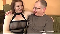 Chubby brunette with big tits sucking and fucking an older guy
