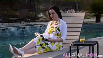 FULL SCENE on http://ALLAnalMOM.com - Prim and proper MILF Dana Dearmond can't wait to sip on a cool refreshment and enjoy her new book in the backyard.