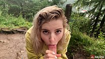 Cute girl takes it deep in her mouth under the rain - Eva Elfie