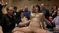 Petite brunette Asian slave Micah Halili is changing for public then in bondage with head in box gets mouth banged through hole till fucked on couch