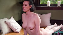 Big natural tits pornstar Casey Calvert does yoga and plays with her snatch