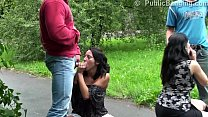 Extreme street public sex orgy with a pregnant girl and 2 guys with big dicks