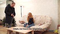Debt4k. Young chick Rose Wild sucks stranger's boner for widescreen TV