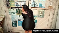 Big Boobed & Big Booty Cuban BBW, Angelina Castro, stuffs her mouth with a super hard cock, owned by her photographer, who mouths fucks her & dumps a big load of cum on her massive tits! Full Videos & Angelina Live @ AngelinaCastroLive.com