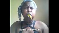 Ebony deep throat training