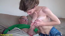 extreme skinny big natural breast stepdaughter gets rough and deep fucked by monster cock stepdad
