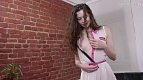 The girl from Russia for the first time in her life shows her hymen.