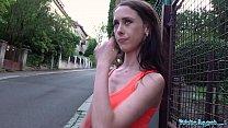 Public Agent Skinny model Lola empties agents balls outdoors