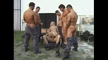 Blonde gang banged in tyre yard