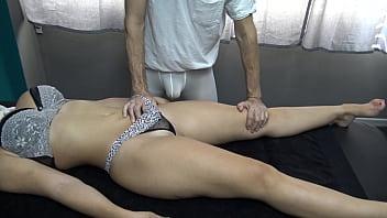 Wife in Transparent Panties Tease Masseur