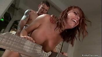 Prisoner Mr Pete bound big boobs blonde officer in uniform Britney Amber and fucked her throat then anal fucked her bent over from behind