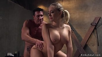 Marco Banderas bangs mouth with big dick to big fake tits blonde in jail cell