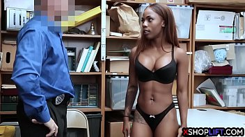 Black busty girl from the store trades her asshole to avoid jail