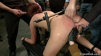 Bound redhead slave Cassandra Nix in doggy style position with electric butt plug gets throat and anal fucked by big cock master in public