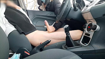 Dick Flashing! Naive Teen Caught me Jerking off in the Car in a Public Park and help me.
