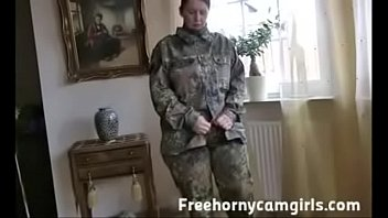Military PAWG strips on cam Part 1- full video at Freehornycamgirls.com